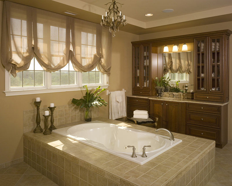 Traditional master bathroom with chandelier by donna for Traditional master bathrooms