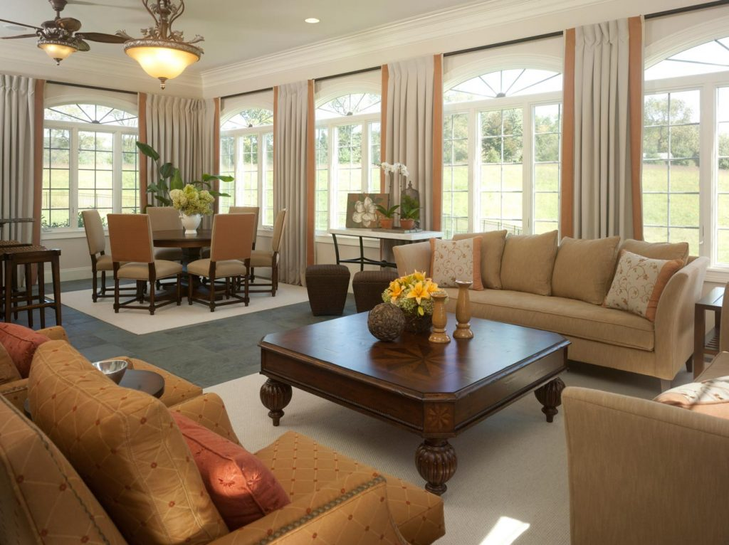 Sunny conservatory interiors by donna hoffman for Dining living room combo ideas